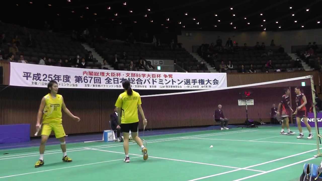 Badminton 嘉村,米元 vs 川前,松尾 XD 2G 準々決勝 バドミントン全日本総合 2013.12 ...