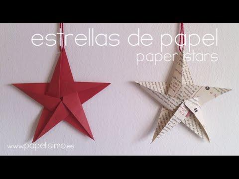 Como hacer estrellas de papel diy paper stars youtube - Arbol de navidad de origami ...