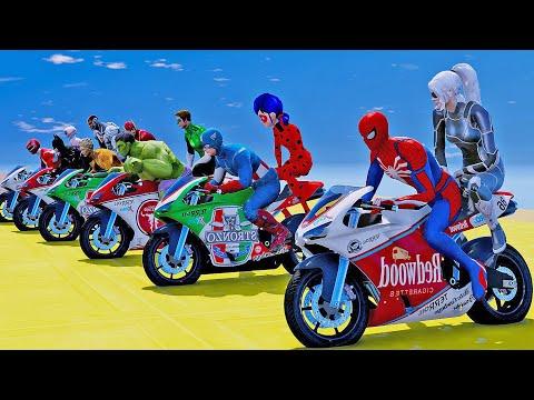 MOTOS COM HOMEM ARANHA E HEROIS NO DESAFIO DE DUPLAS NO GTA 5!! | GTA V SUPER CORRIDA COM HERÓIS