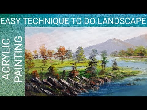 EASY TECHNIQUE TO DO LANDSCAPE || ACRYLIC PAINTING