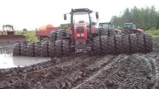 Tractor Stuck in the mud compilation