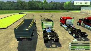 Farming Simulator 2013 Mods - Peterbilt Dump Truck, Peterbilt Semi trucks.