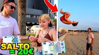 20 EUROS SI TU FAIS UN SALTO !! [Flips in public]