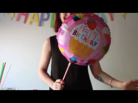 Partysaurus - How to put foil balloon on a stick