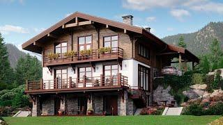 Проект дома в стиле Шале. Дом с сауной, террасой, балконом и панорамными окнами Ремстройсервис М-384