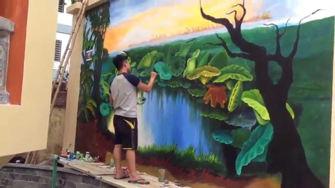 Vẽ tranh tường phong cảnh hoa sen tại đền đống nước Hoàng Hoa Thám – Hà Nội_0908766656_0973561366