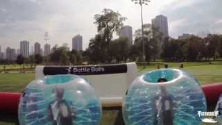 Papa Roach playing bubble soccer in Chicago