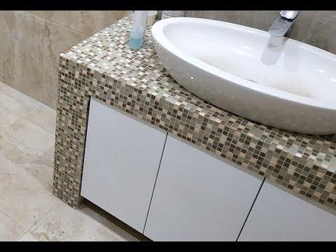 Укладка Мозаики ! Делаем столешницу из Мозаики в ванную под умывальник !