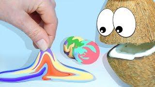 Играем и Учим цвета с Мистером Кокосом  Делаем Попрыгун из воздушного пластилина