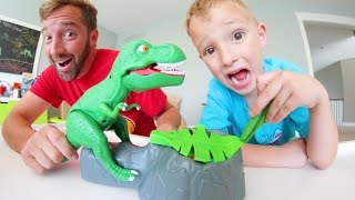 Father & Son PLAY DINO MEAL! Don