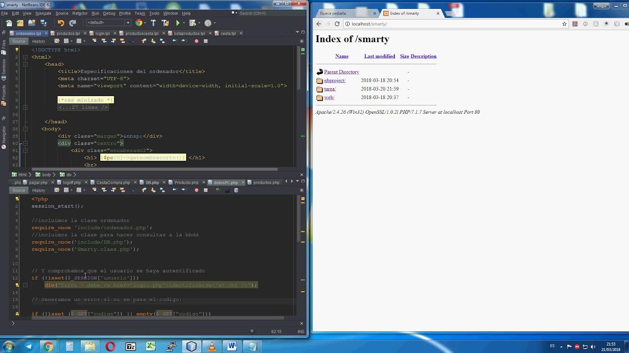 Usando php y smarty, Creaccion de plantilla TPL - YouTube