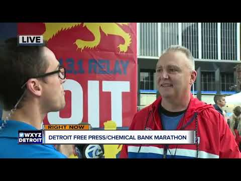 At the finish line for the Detroit Free Press/Chemical Bank Marathon