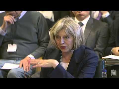 Theresa May at the Home Affairs Select Committee