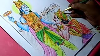 How to Draw Lord krishna telling gita to Arjuna Drawing