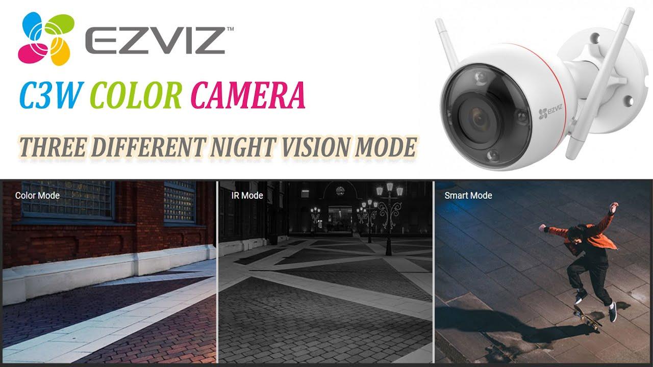 Ezviz C3W Color night vision camera video quality demo at night with three different night mode
