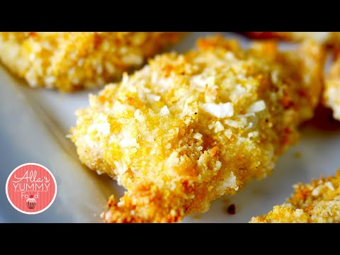 Crispy Coconut Chicken Strips Oven Baked Chicken Куриные палочки в кокосовой стружке