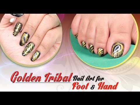 Golden Tribal Nail Art For Foot Hand Do It Yourself