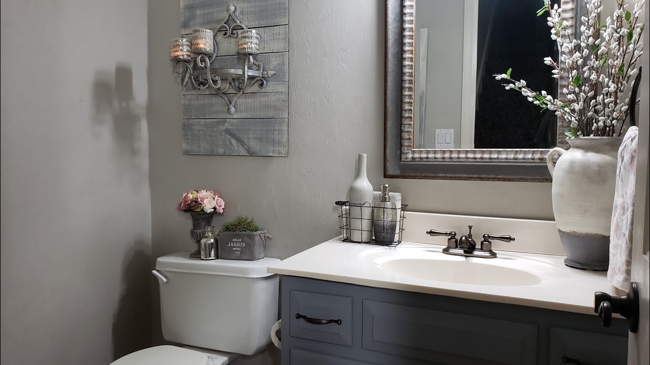 2020 Decorate With Me French Country Farmhouse Powder Room Refresh Youtube