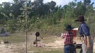 Son shooting his first SASS match 9 year old CAS Cowboy Shooting