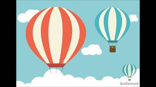 How to draw: Flying hot balloons and clouded sky step by step