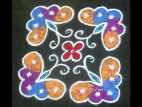 Diwali rangoli design | butterfly kolam 8 dots for Margazhi | chukkala ...