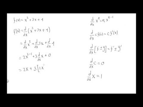 Find the derivative of f(x)=x^2+3x+4 using power rule constant rule and sum and difference.