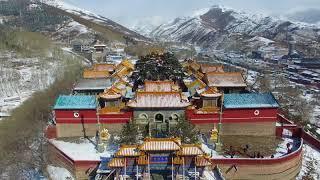 无人机航拍山西忻州五台山雪景 五台山春雪