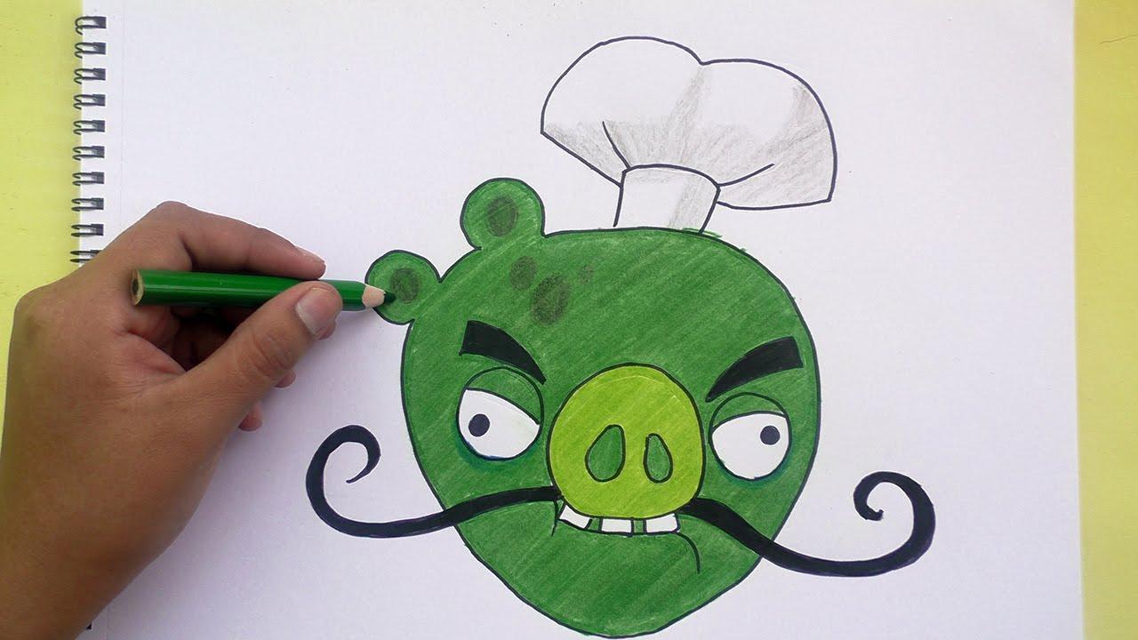 Dibujando Y Coloreando A Cerdo Chef (Angry Birds)- Drawing