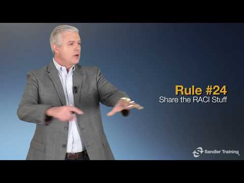 Rule #24: Share the RACI Stuff - Sandler Rules for Sales Leaders