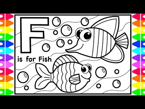Coloring Alphabets For Kids | F Is For Fish Coloring Page | ABC Coloring Pages Kids | Fun Coloring
