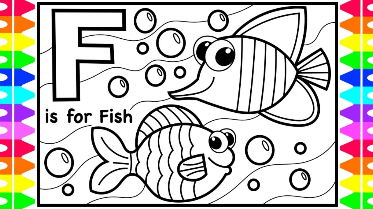 Coloring Alphabets For Kids F Is For Fish Coloring Page Abc