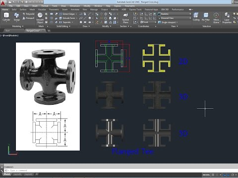 Free Model 3D Flanged Cross AutoCAD 2016 การสร้าง งาน 3D