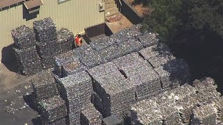 This is a literal mountain of recyclables