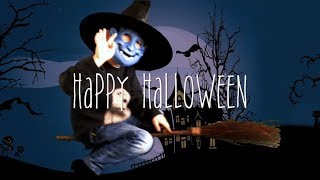 Halloween creepy kid witch costume acting flying on broomstick at night ¦ VidByKid