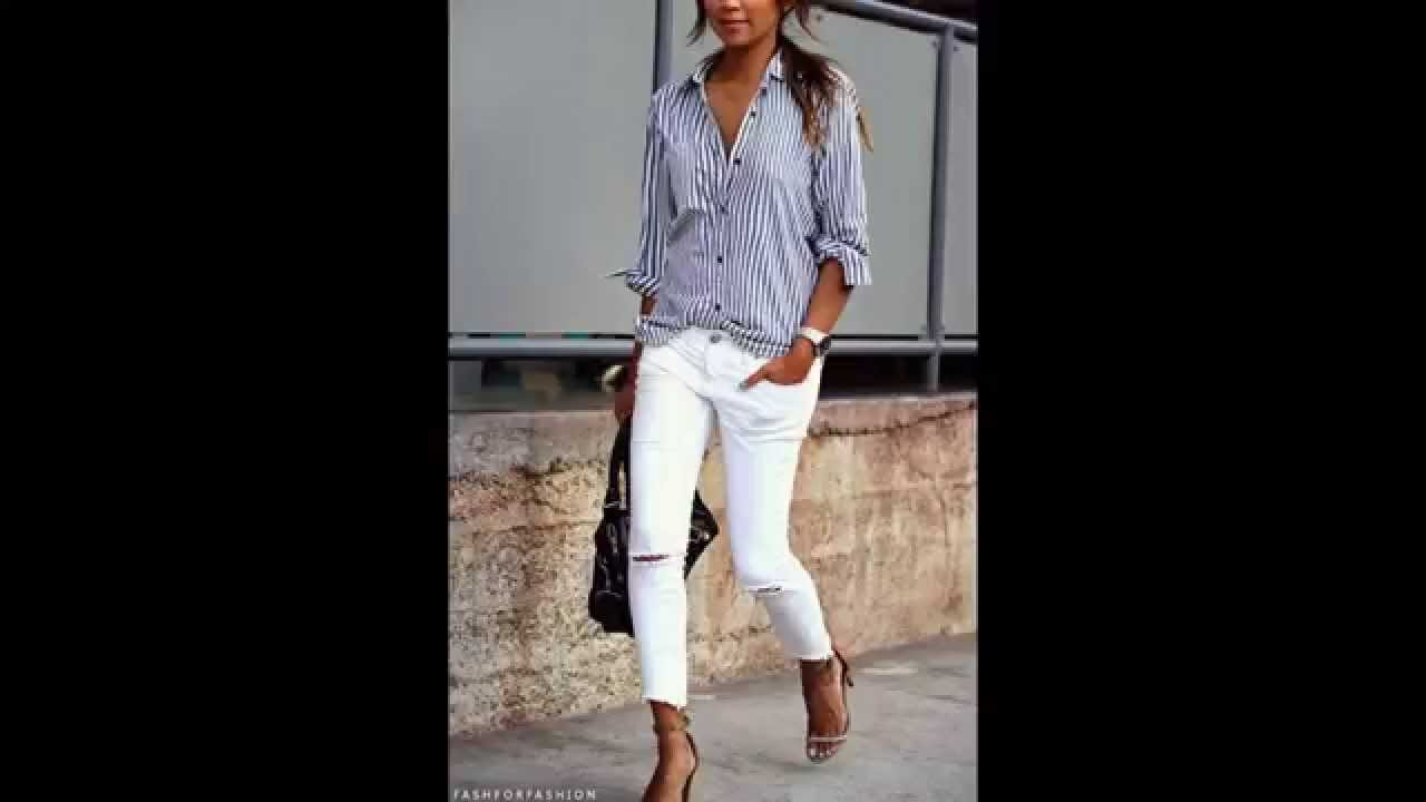 fc1a444f30 How to Style White Denim Jeans (Anytime B4 Memorial Day   After Labor Day)  - Outfit idea Lookbook - YouTube
