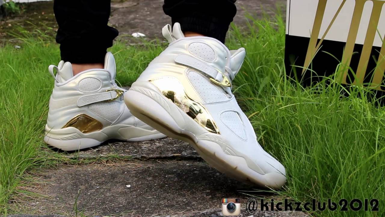 Air jordan 8 Champagne on feet - YouTube 898a455fa