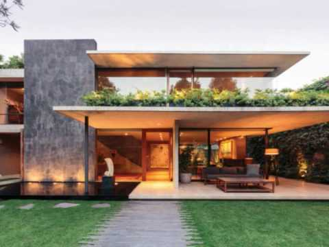 Contemporary Home Design Surrounded By Green Beautiful Garden With
