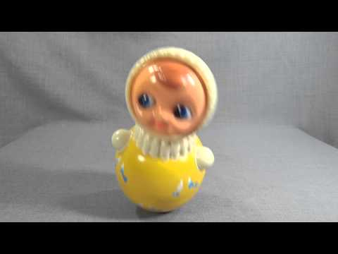 VINTAGE SOVIET RUSSIAN CELLULOID ROLY POLY BABY DOLL MUSICAL TOY NEVALYASHKA