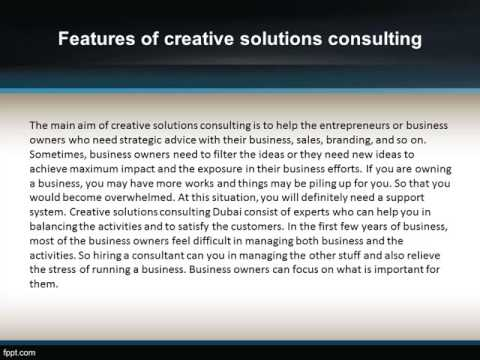 "CREATIVE SOLUTIONS CONSULTING DUBAI – ""ALWAYS GIVES INNOVATIVE SOLUTIONS"""