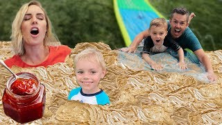 We Filled Our Backyard With Peanut Butter And Jelly And Made A Slide In It.