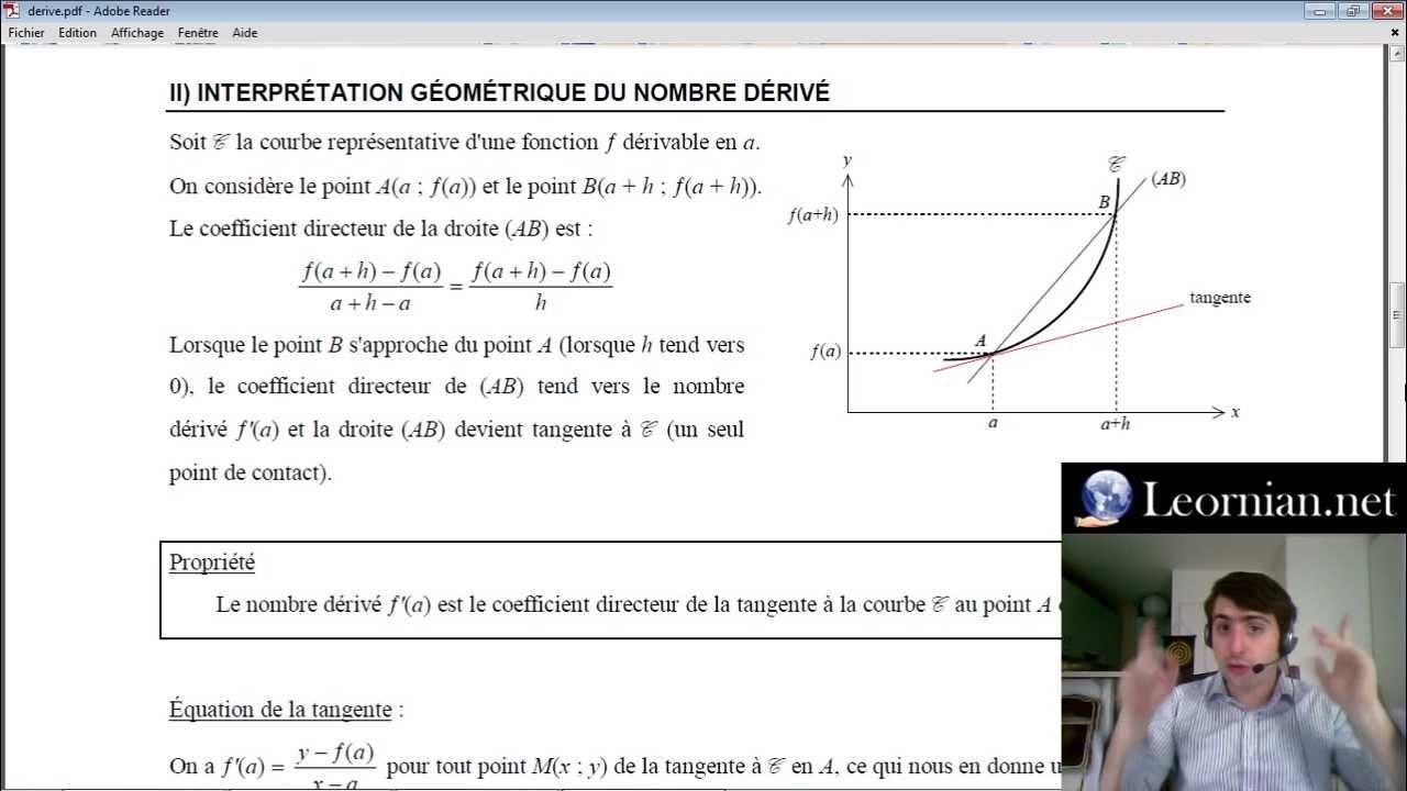 Dérivation (2/3) - Interprétation Géométrique du Nombre Dérivé - Maths Première S - YouTube