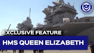 Pompey players and staff spend the afternoon aboard HMS Queen Elizabeth