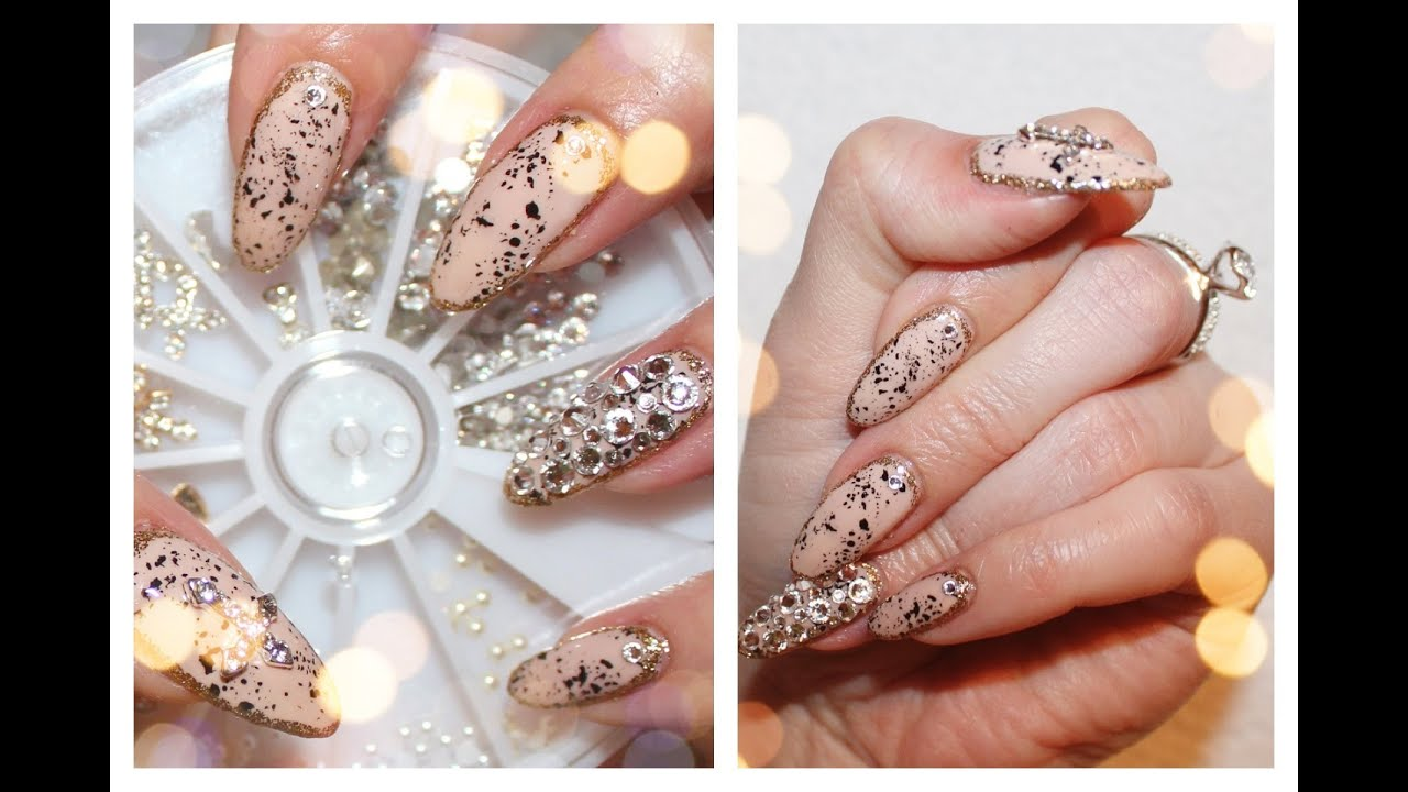 Glamorous Border Nail Art With Swarovski Crystals - YouTube