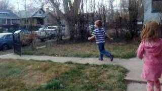 Running in the yard