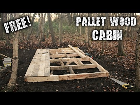 Building an Off Grid Cabin in the Forest using Free Pallet Wood  - A Wilderness Project