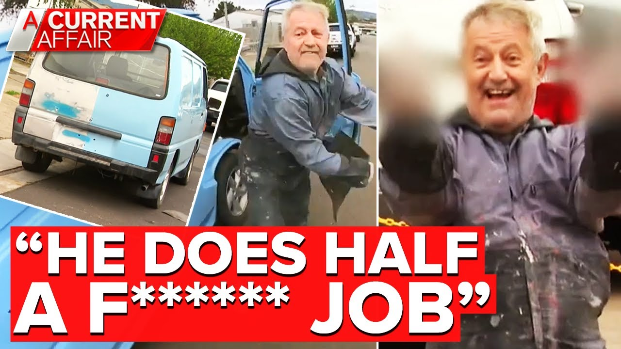 Panel beater boss blows up over half-painted van | A Current Affair
