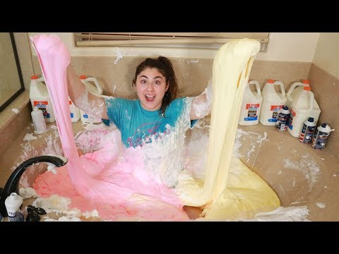 I FILLED MY MOMS BATHTUB WITH FLUFFY SLIME ~ I bathed in it, super fun!
