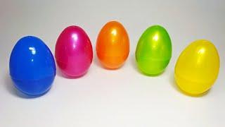 Учим цвета на русском. Яйца с сюрпризами. Маша и медведь, Робокар Поли, Барбоскины, Лунтик.