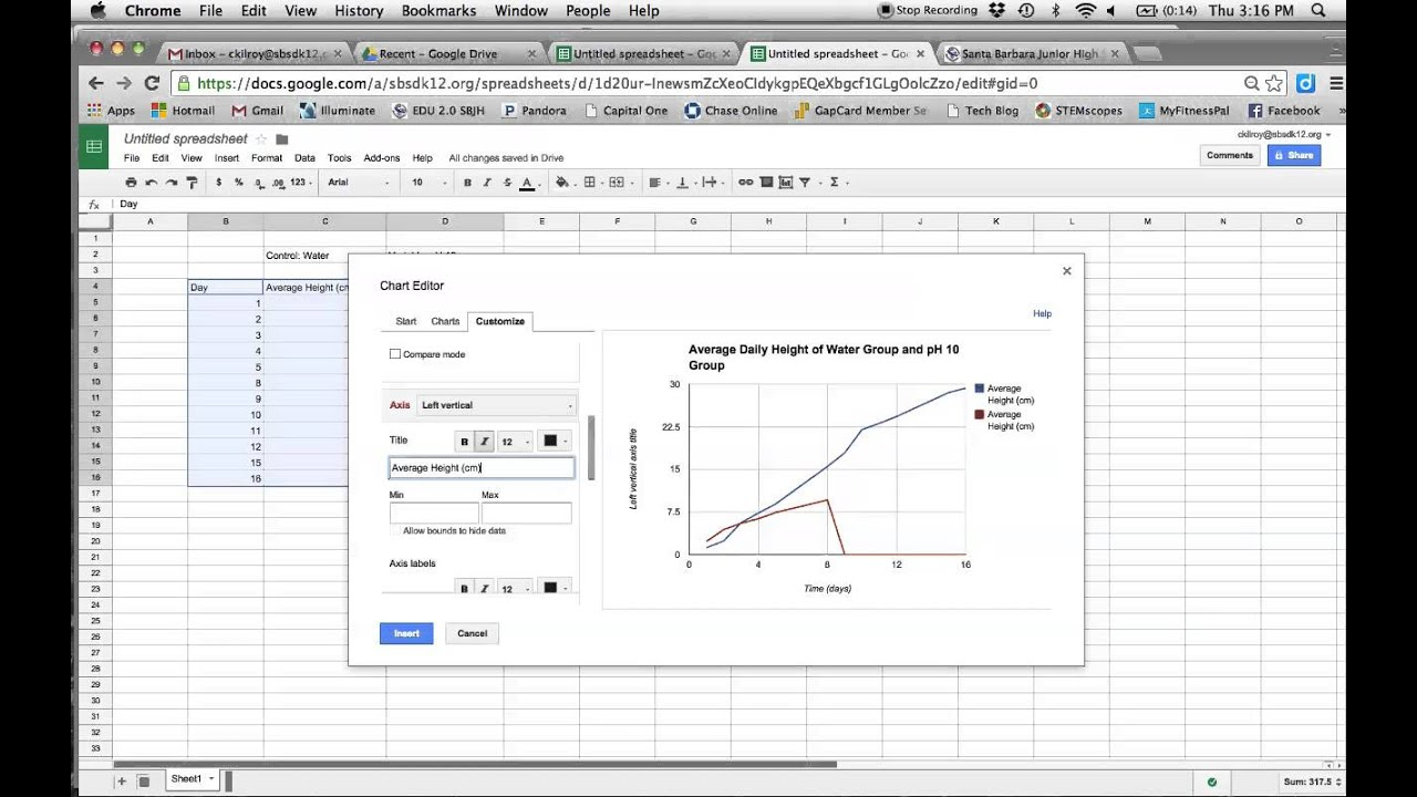 worksheet Double Line Graph how to make a double line graph youtube graph