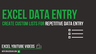 Excel Data Entry Tricks: Create Custom Lists in Excel For Repetitive Data Entry